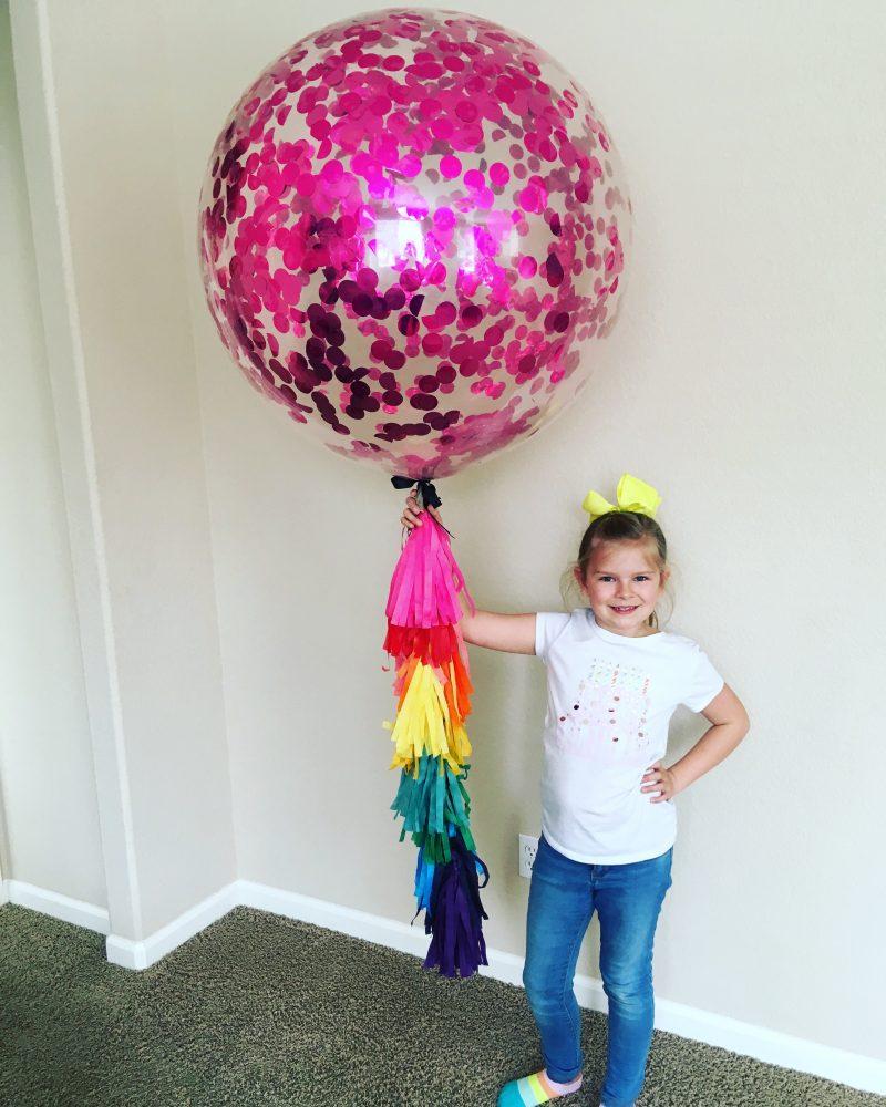 pink confetti balloon