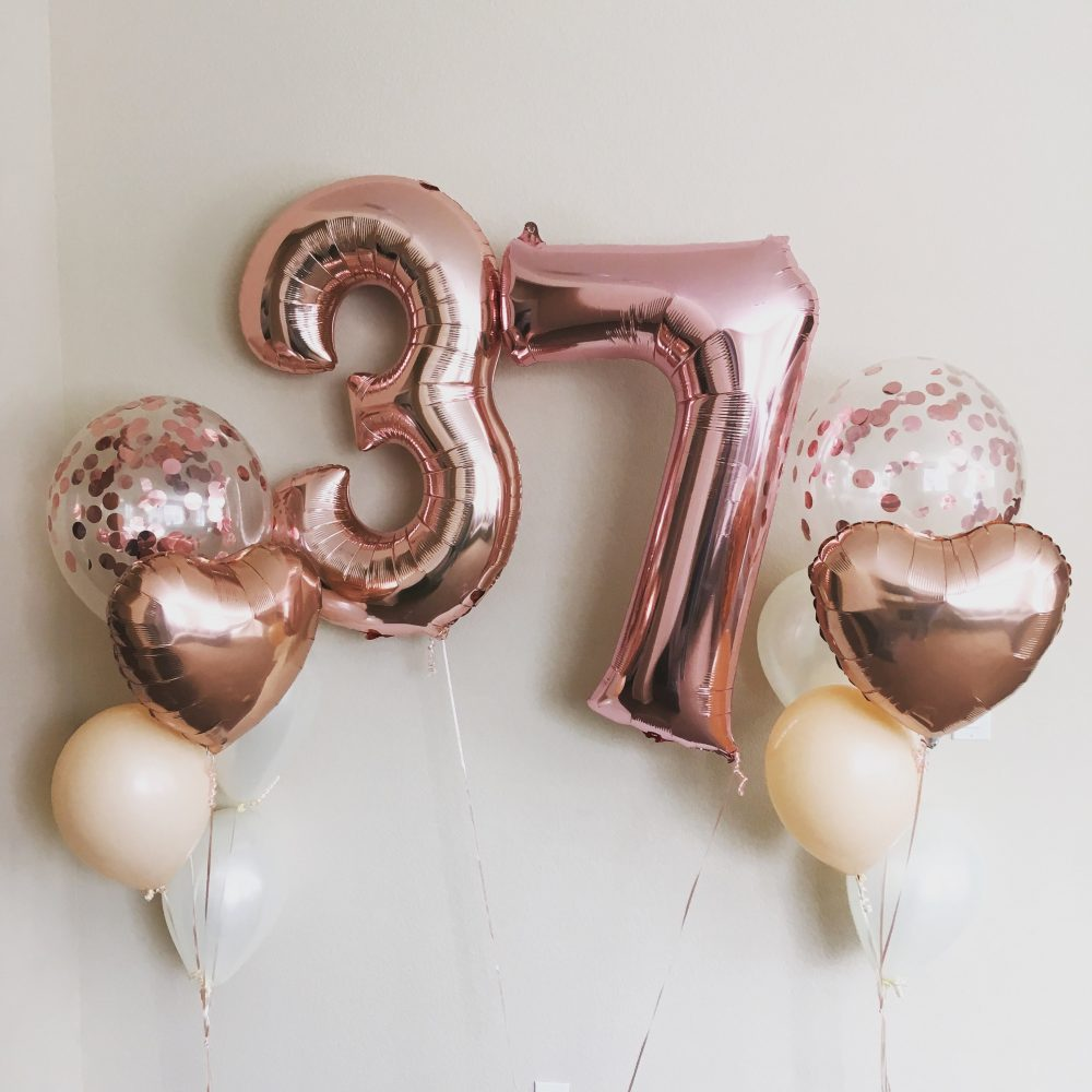 rose gold Mylar balloon