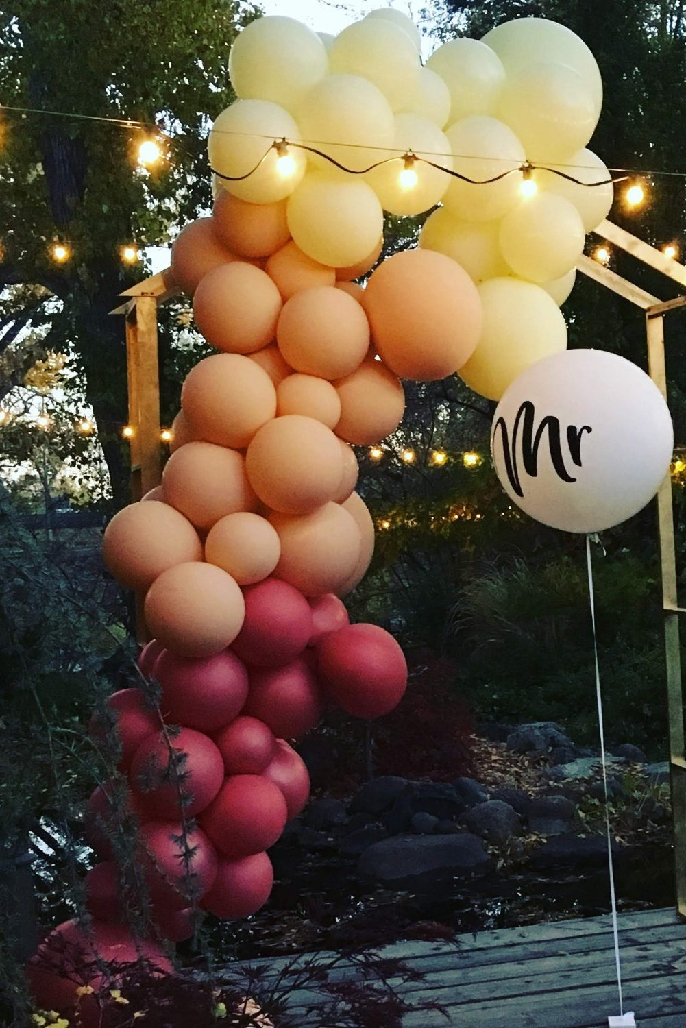 proposal balloon organic garland